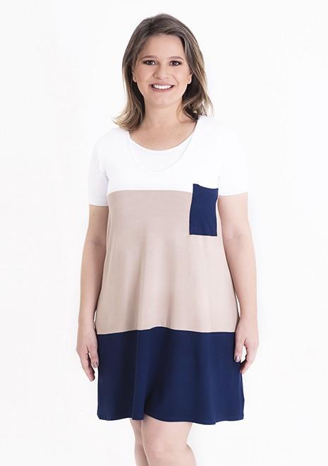 Vestido gestante para amamentar Trini manga curta - Branco, castor e marinho