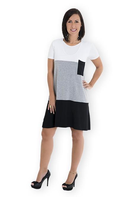 Vestido gestante para amamentar Trini Verão - Branco, cinza e preto