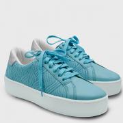 Tênis Fun Azul De Couro
