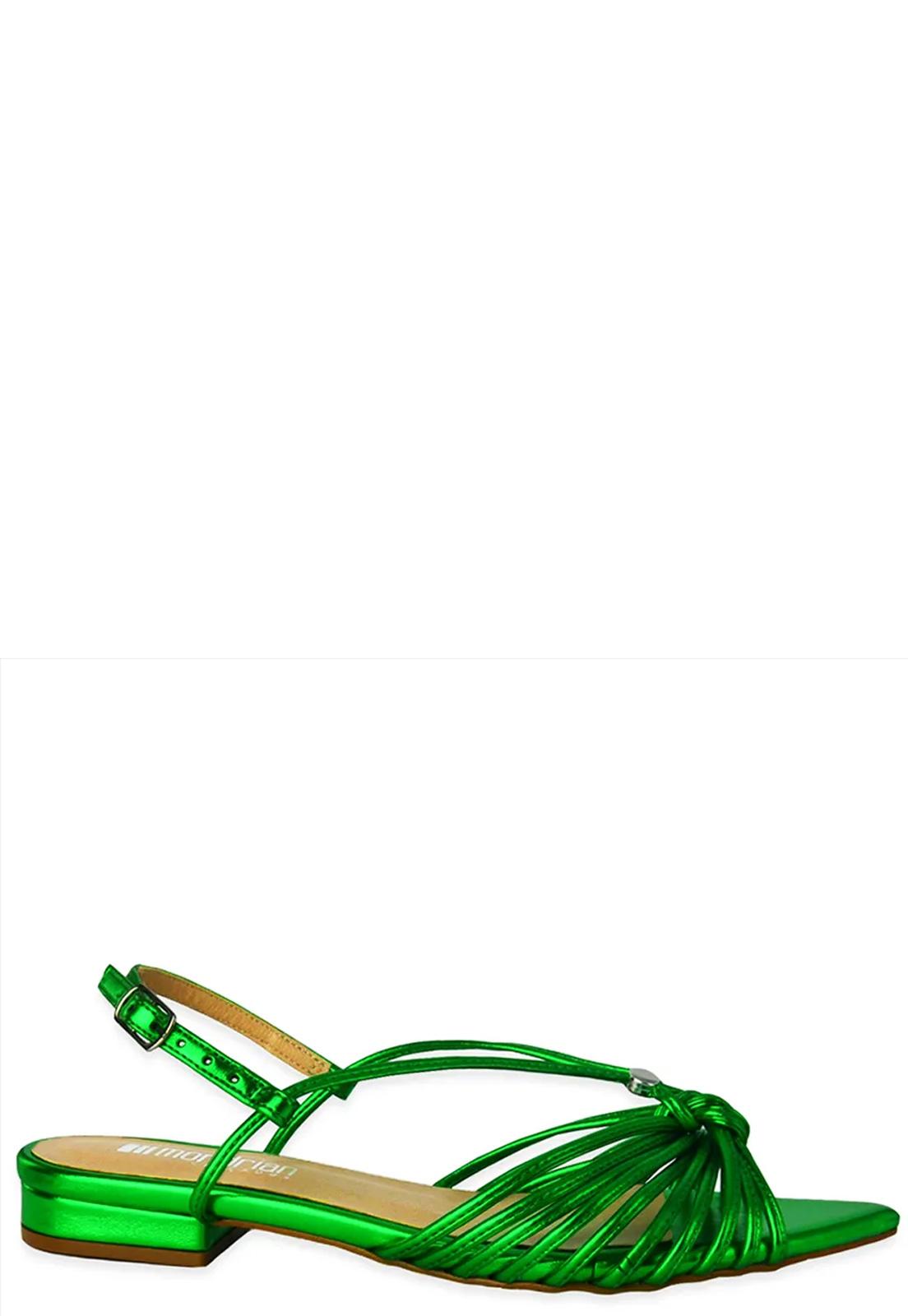 Rasteira Ana Metalizada Verde