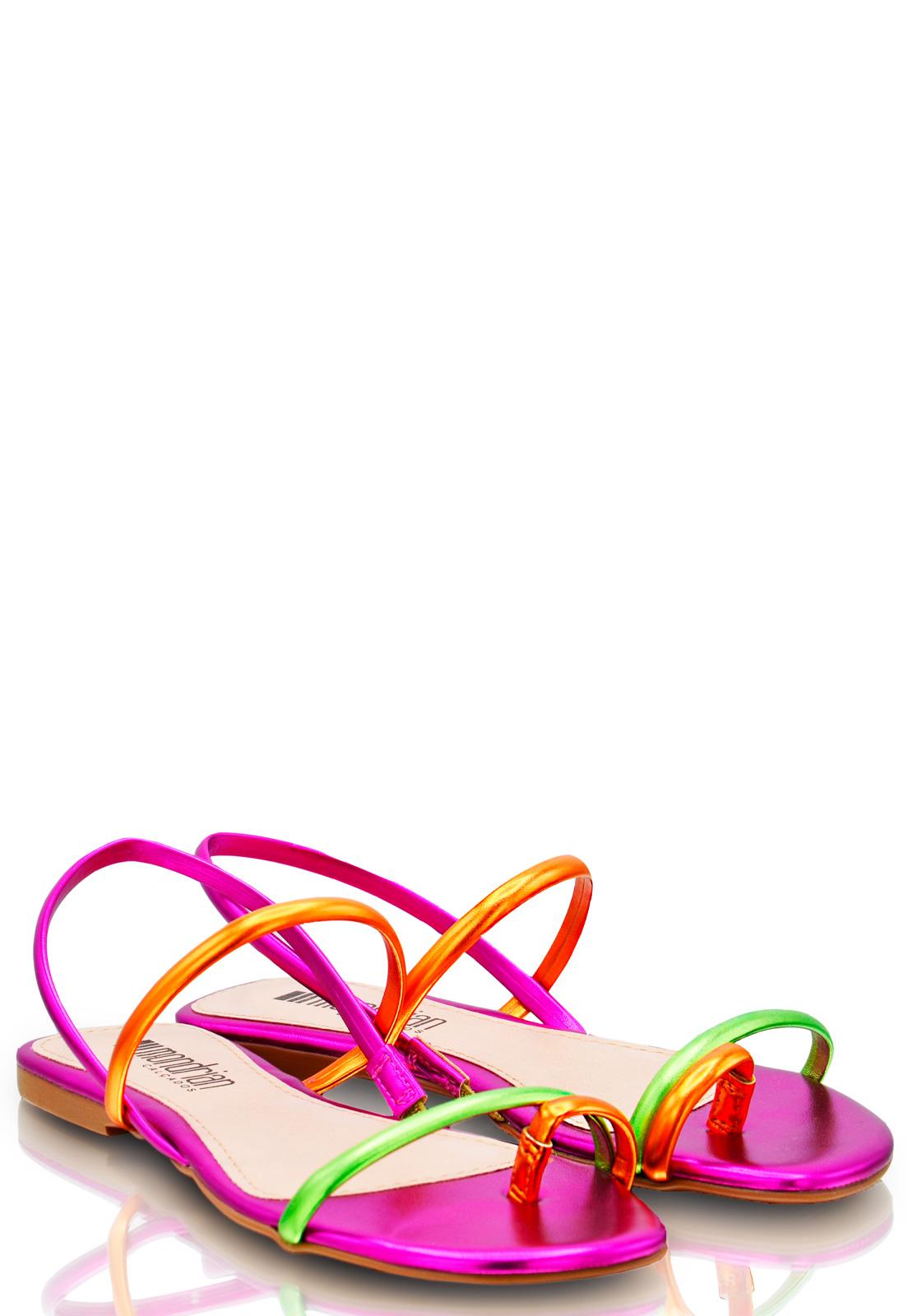 Rasteira Lolita Metalizada Neon Colors