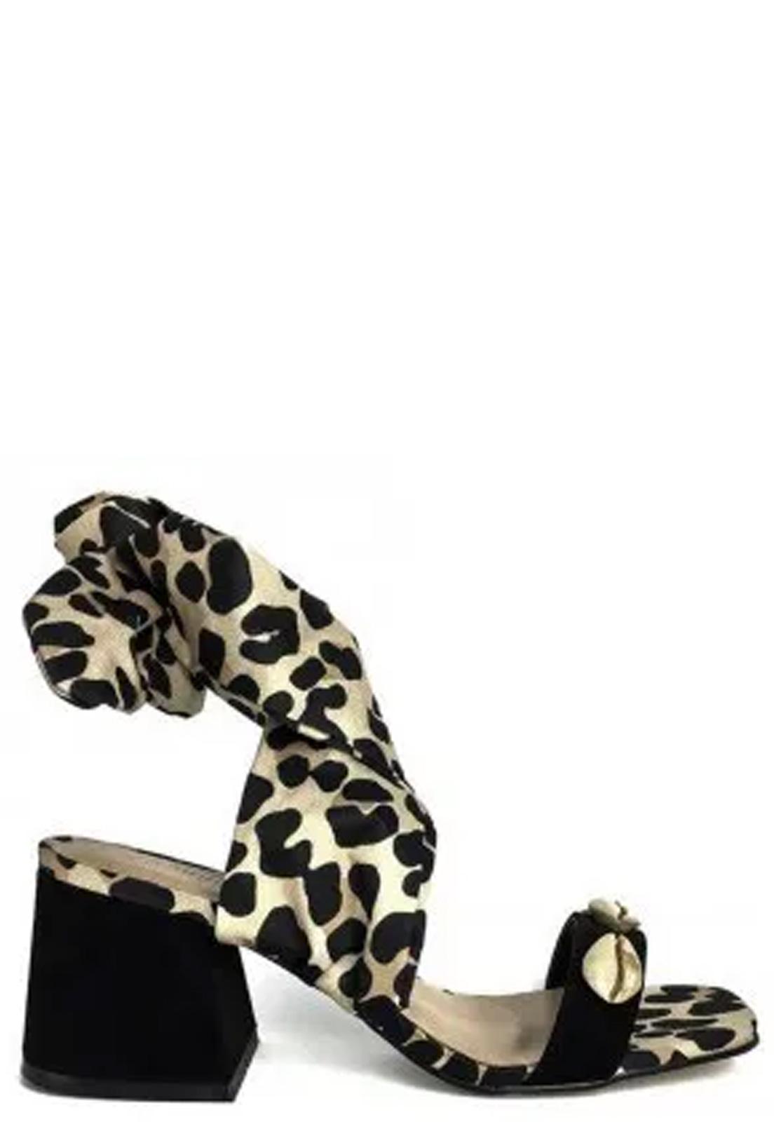 Sandália Block Heel Buzios Animal Print
