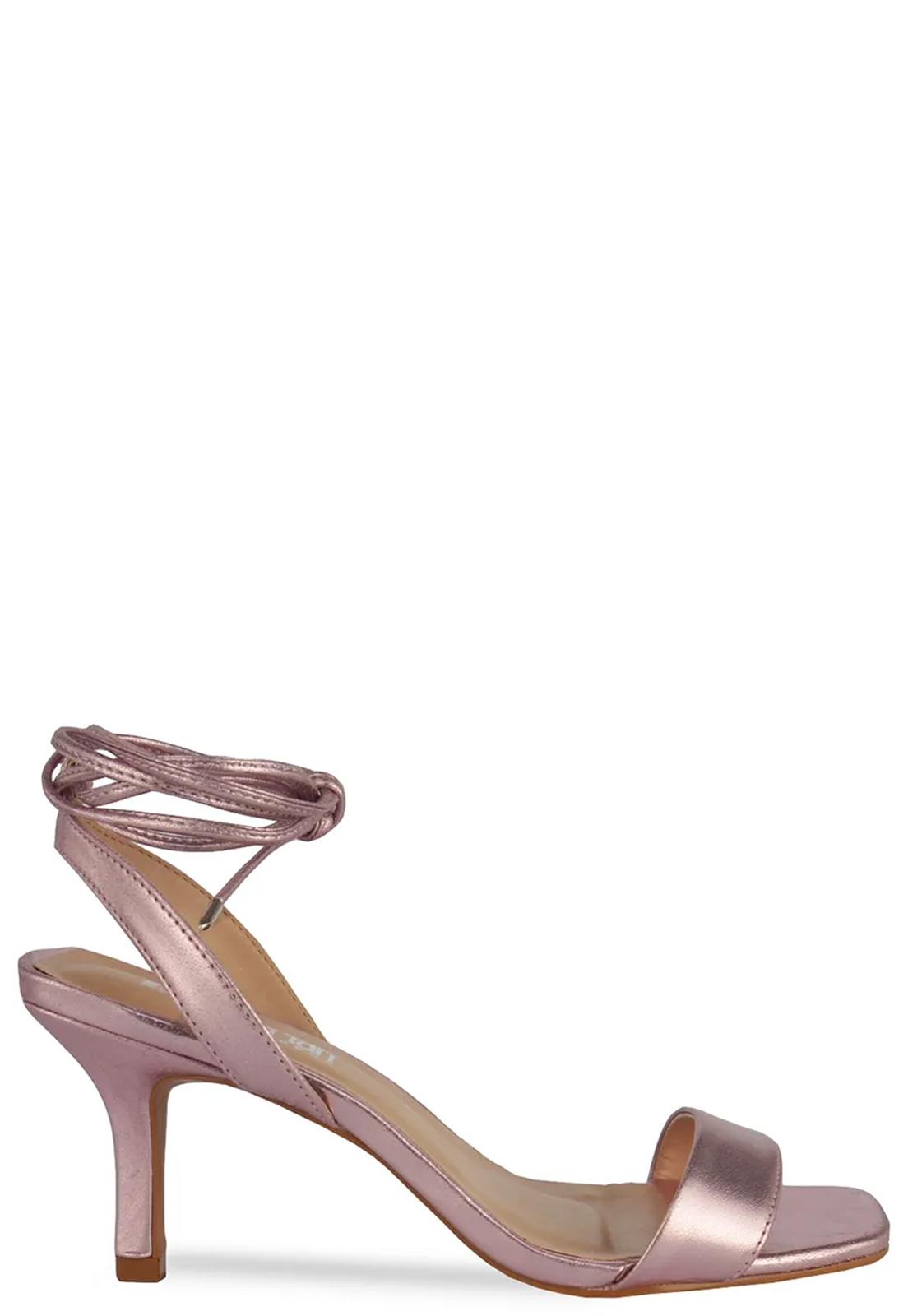 Sandália De Amarração E Bico Quadrado