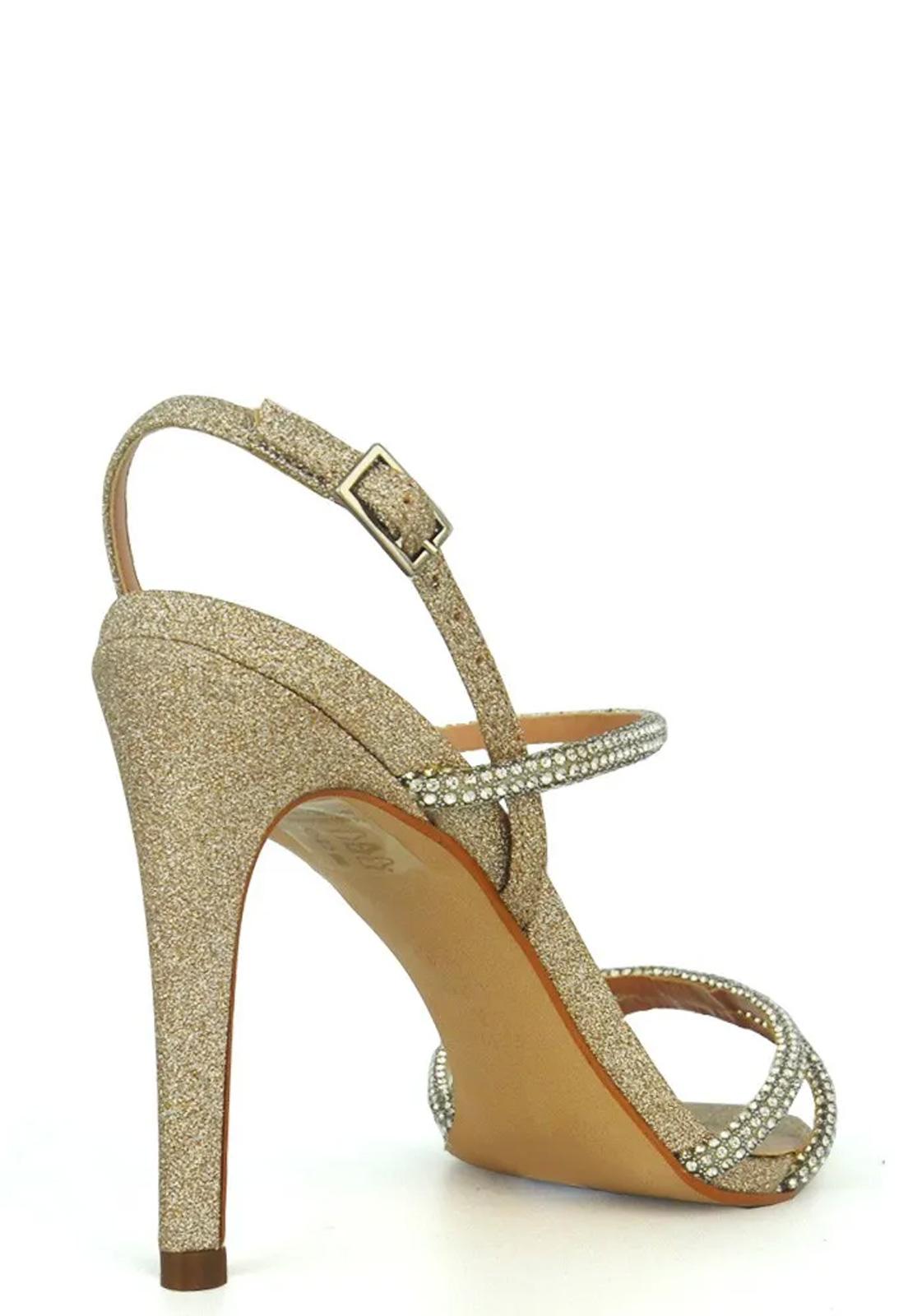 Sandália De Tiras Strass E Glitter
