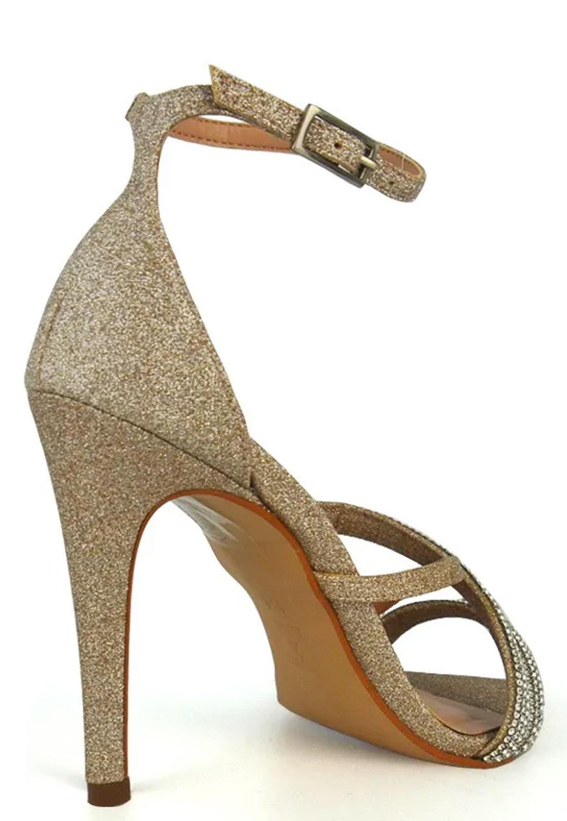 Sandália De Tiras Strass E Glitter Bico Fino