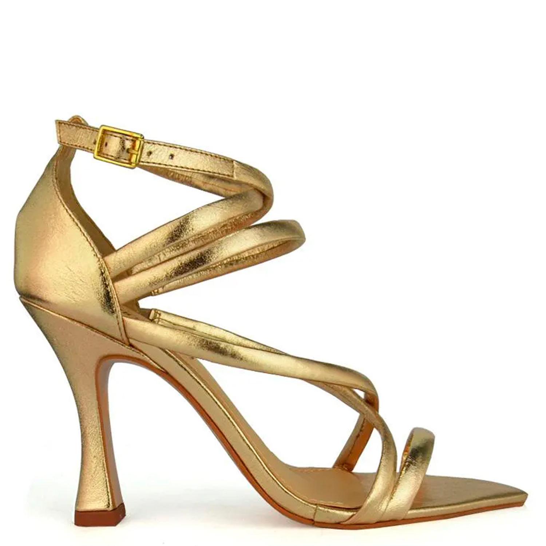 Sandália Metalizada Tiras Salto Taça