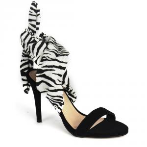 Sandália Zebra Animal Print De Amarração