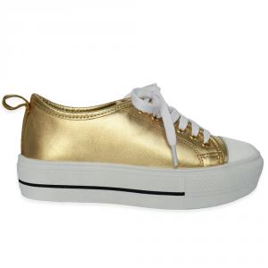 Tênis Flatform Gold De Couro