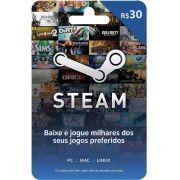 Cartão Presente Steam R$ 30 + R$2,00 de Bônus
