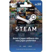 Cartão Presente Steam R$ 50 + R$ 3,00 de Bônus