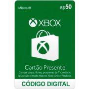 Cartão Presente Xbox R$ 50