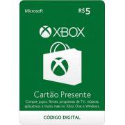 Cartão Presente Xbox R$ 5