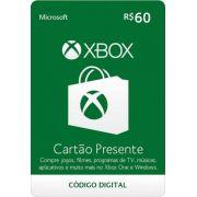 Cartão Presente Xbox R$ 60
