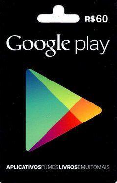 Cartão Google Play R$60 - Brasil  -  Games Lord