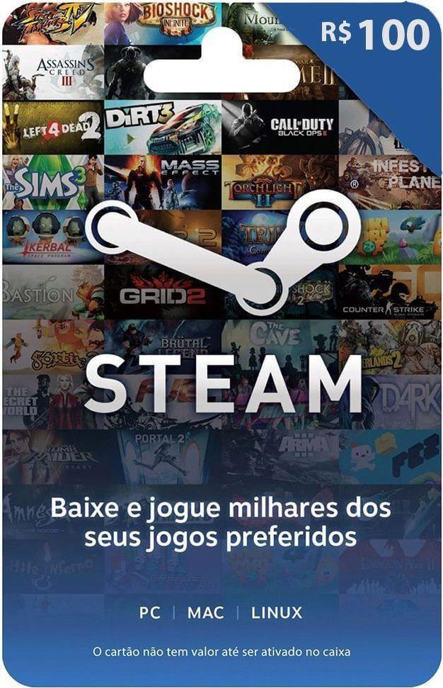 Cartão Presente Steam R$ 100 + R$ 5,00 de Bônus   -  Games Lord