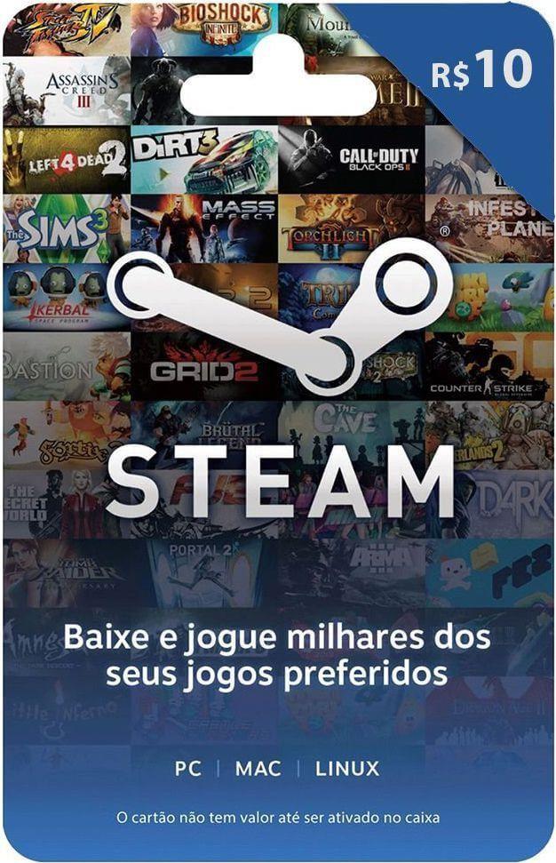 Cartão Presente Steam R$ 10 + R$0,80 de Bônus   -  Games Lord