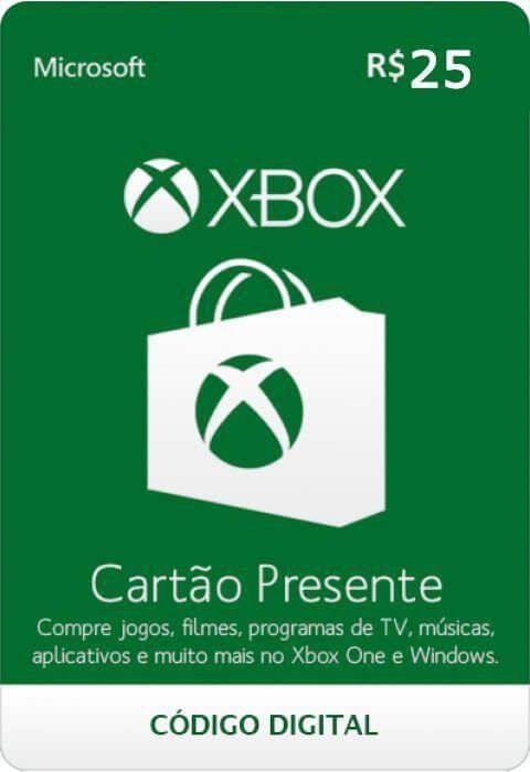 Cartão Presente Xbox R$ 25  -  Games Lord