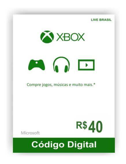 Cartão Presente Xbox R$ 40  -  Games Lord