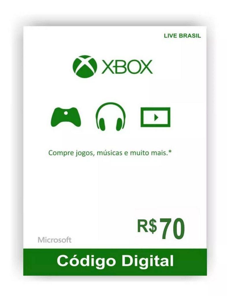 Cartão Presente Xbox R$ 70  -  Games Lord
