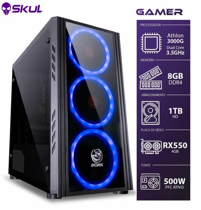 Computador Gamer 1000 - Athlon 3000g 3.5ghz Mem. 8gb Ddr4 Hd 1tb Rx 550 4gb Fonte 500w  -  Games Lord