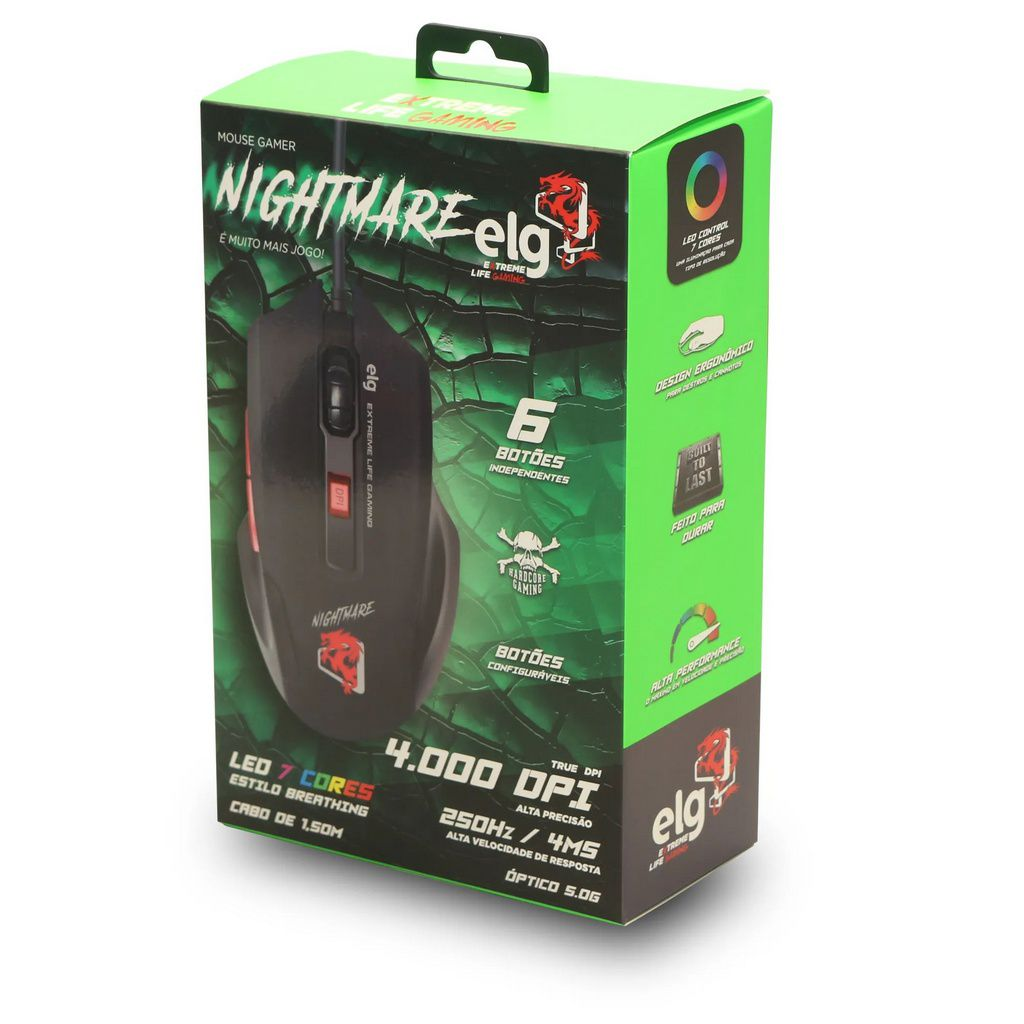 Mouse Gamer Nightmare 4000 Dpi  -  Games Lord
