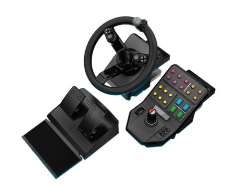 Volante De Simulação, Pedais E Deck De Controle Do Painel Lateral Heavy Equipment Bundle Saitek  -  Games Lord