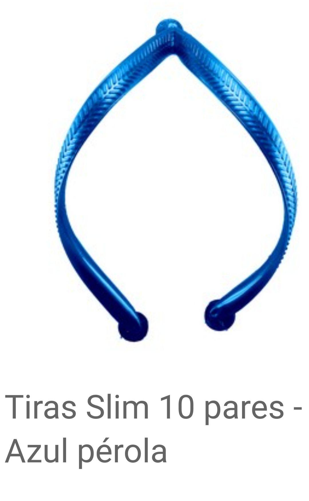 Tiras slim Azul Pérolado com 10 pares