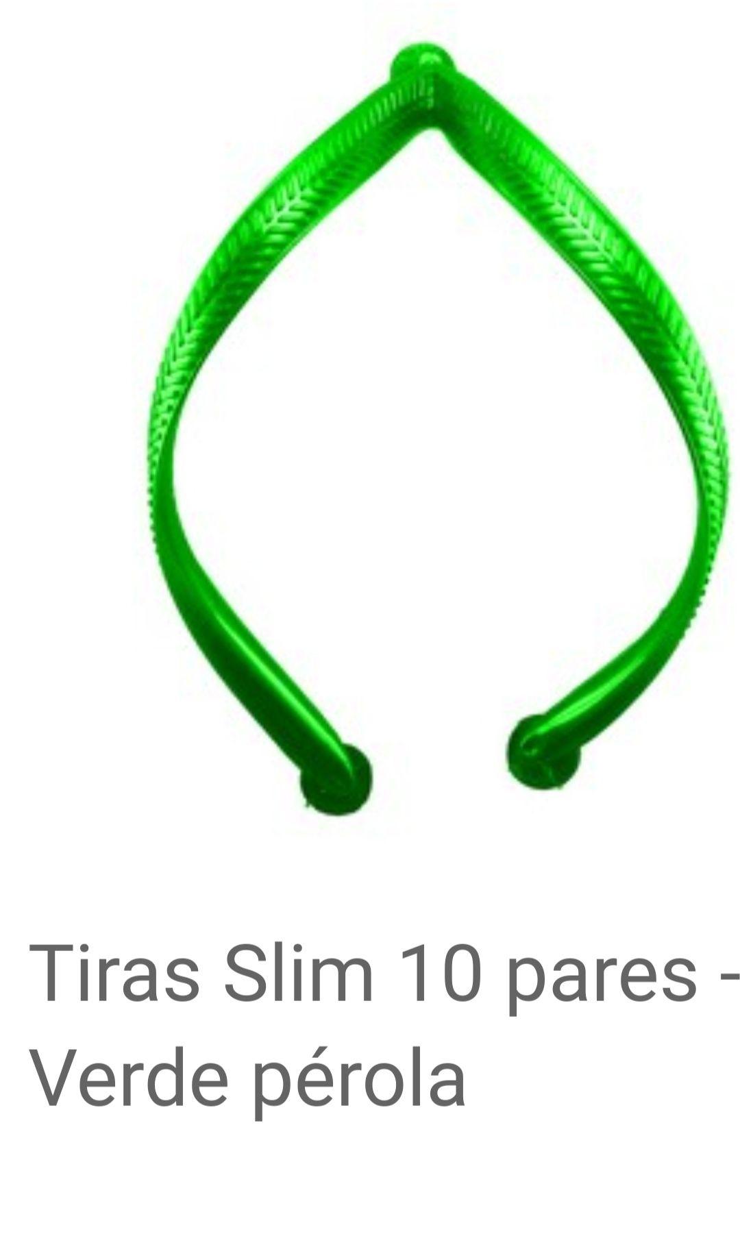 Tiras Slim Verde Pérolada com 10 pares