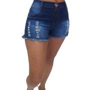 Shorts Feminino com Lavagem Desfiado Destroyed Adulto Billy Jeans
