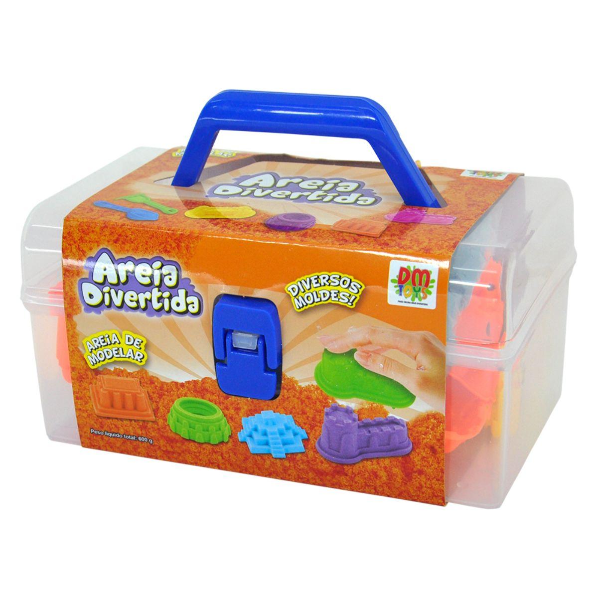 Areia Cinética Divertida Massinha de Modelar Maleta Castelo DM Toys Brinquedo