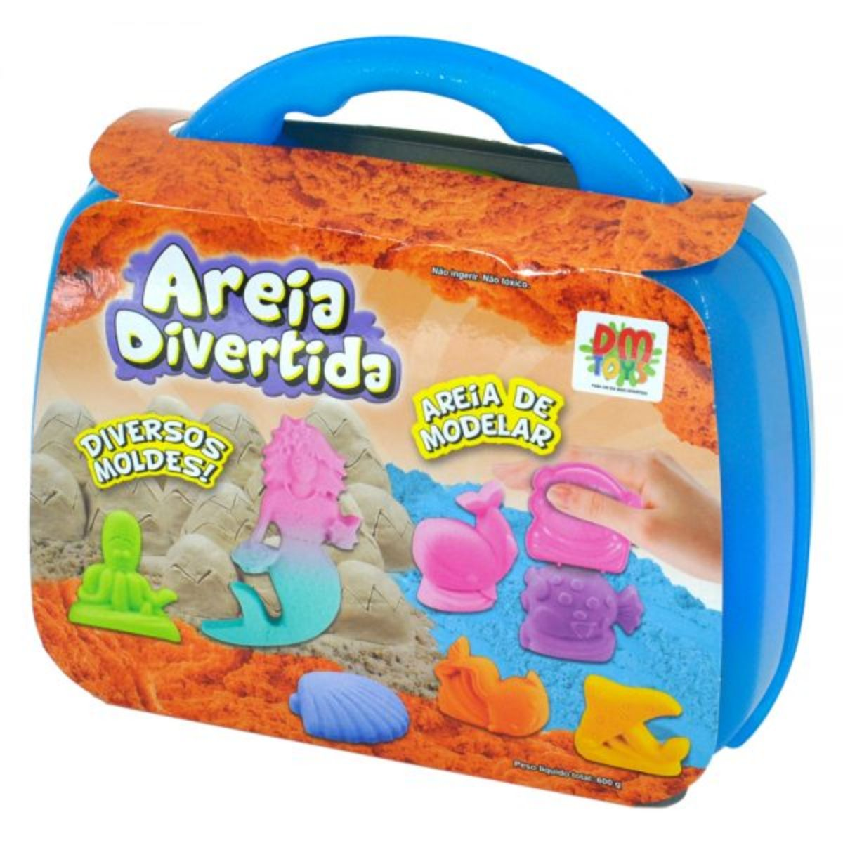 Areia Cinética Massinha de Areia Massa de Areia Areia Mágica Areia Divertida Areia Mágica Maleta Fundo do Mar DM Toys Brinquedo Infantil