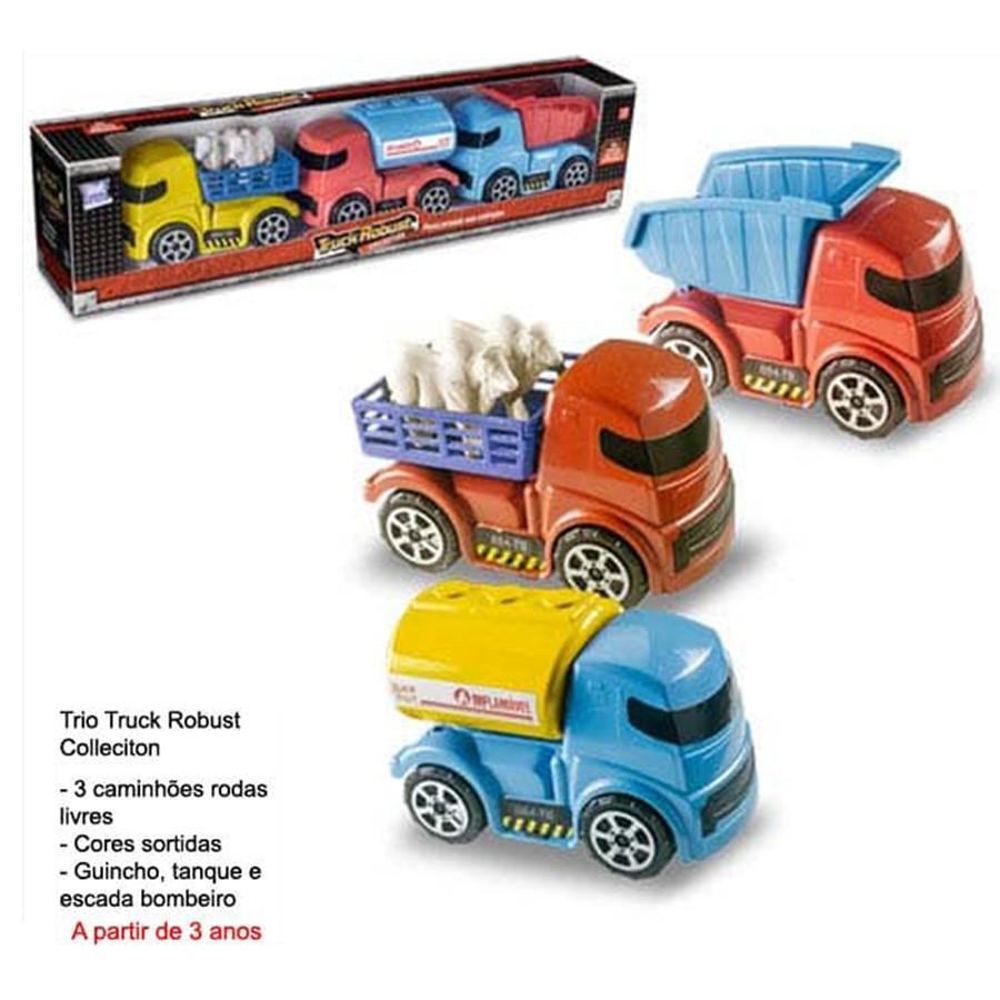 Brinquedo Truck Robust com 3 Caminhões Sortidos