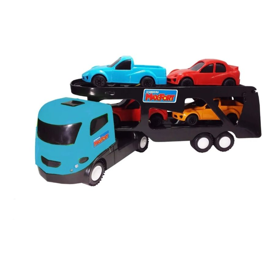 Caminhão Cegonha Max Fort c/ 4 carrinhos Brinquedo Infantil