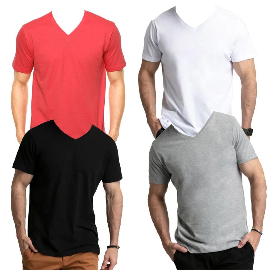 Camiseta Basica Comfort SBA Gola V Lisa Adulto