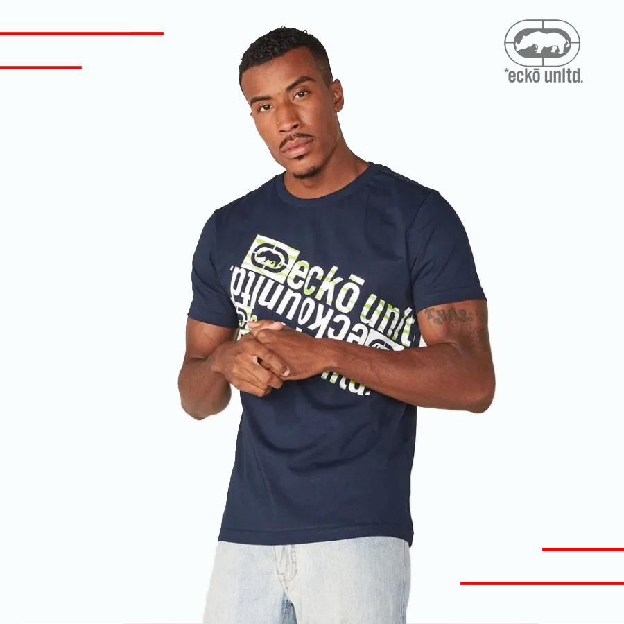Camiseta Masculina Marinho Estampada Ecko Unltd