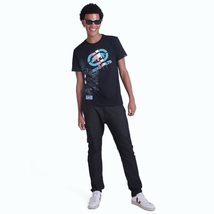 Camiseta Masculina Preta Estampada 3D Ecko Unltd