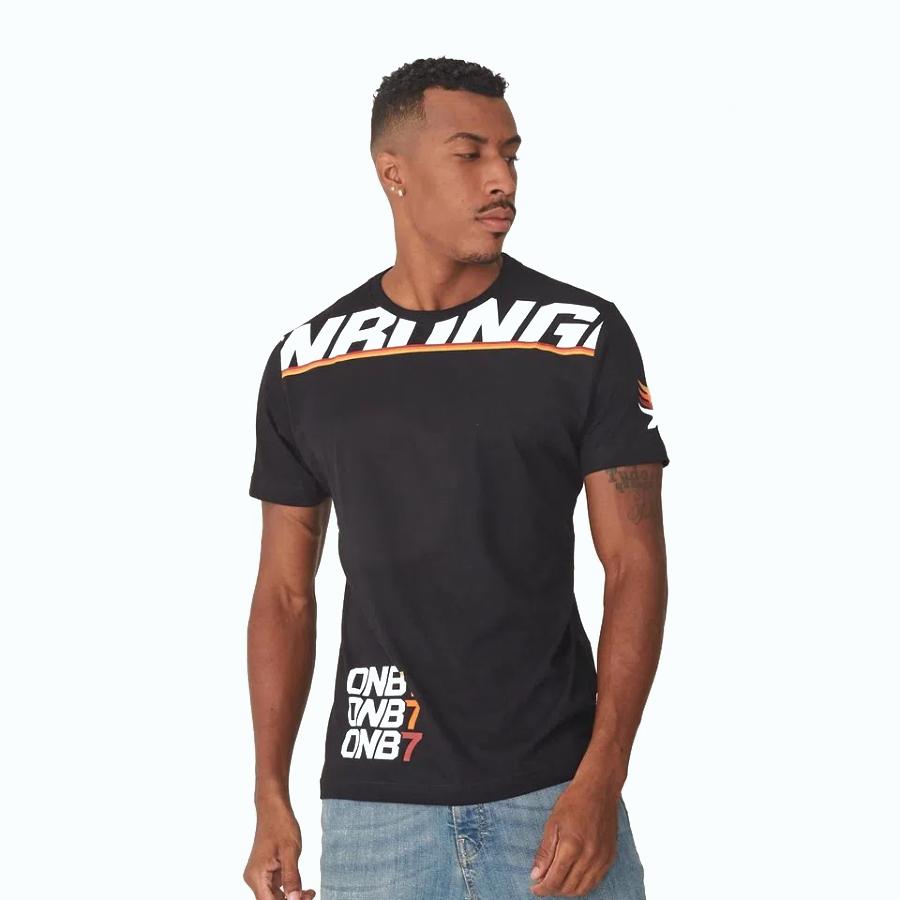 Camiseta Masculina Preta Estampada Onbongo