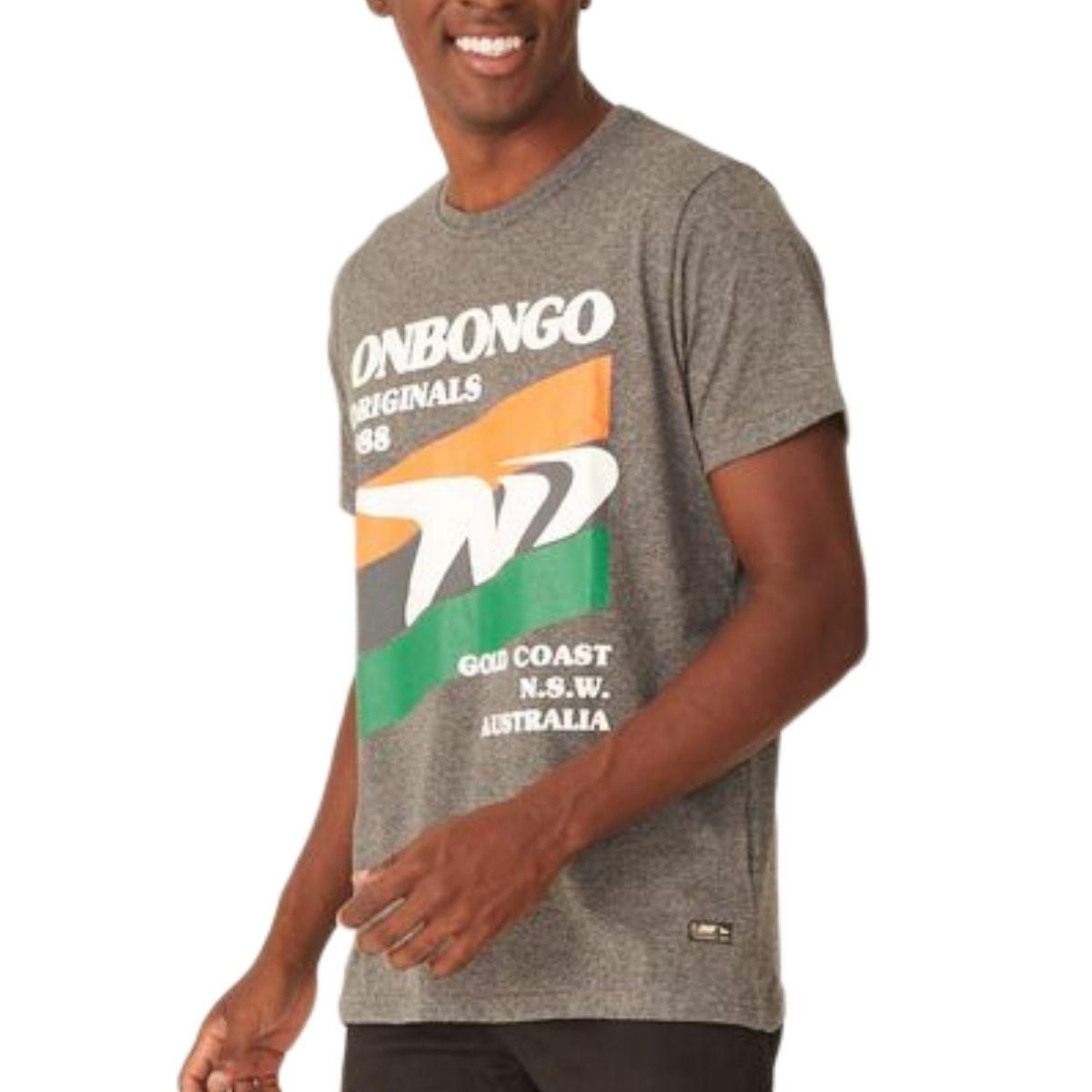 Camiseta Onbongo Estampada Cinza Escuro Mescla