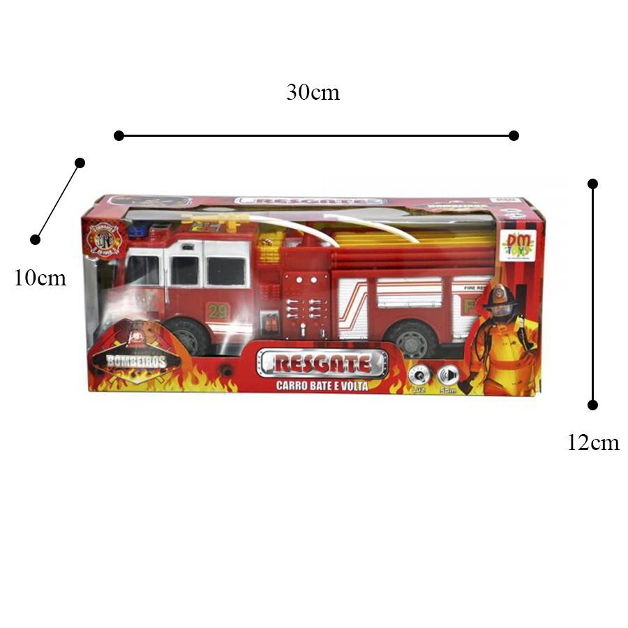 Carro Bate e Volta Resgate Bombeiros DM Toys Brinquedo Infantil