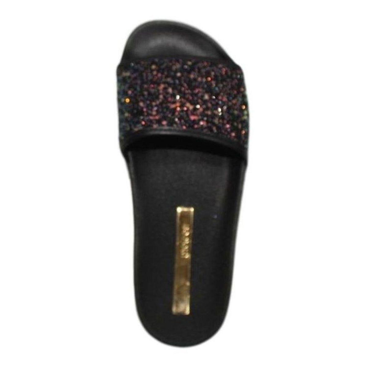 Chinelo Moleca Slide Maxxi Glitter Glamour Preto