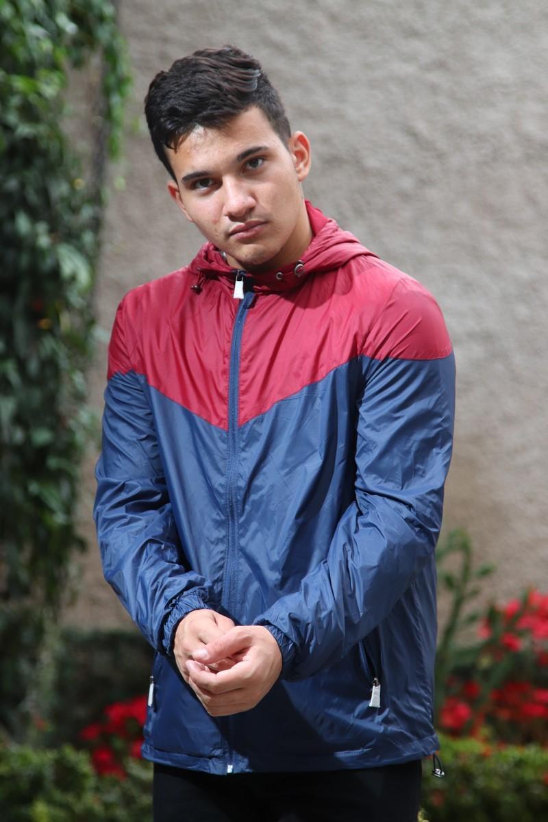 Jaqueta Giorgio Bianco Corta Vento Com Capuz Masculino Marinho e Vermelho