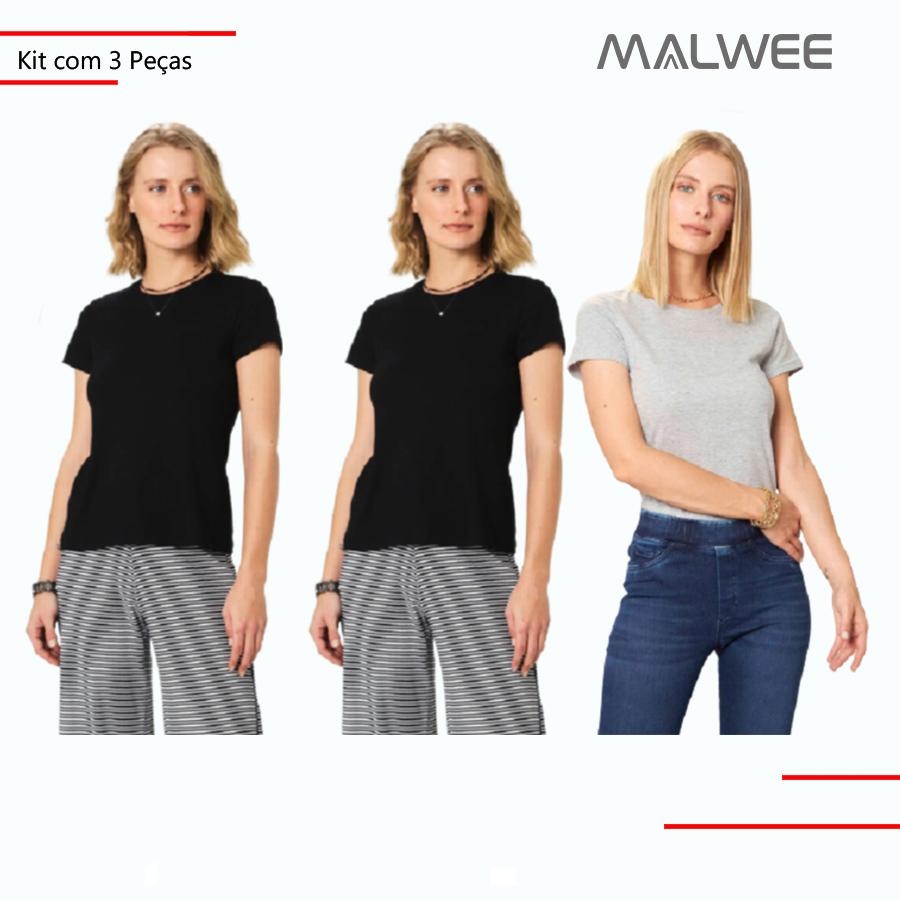 Kit c/ 3 Blusas Femininas Baby Look Malwee Meia Malha Adulto