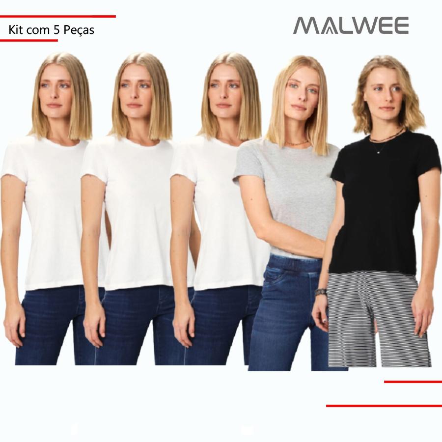 Kit c/ 5 Blusas Femininas Baby Look Malwee Meia Malha Adulto