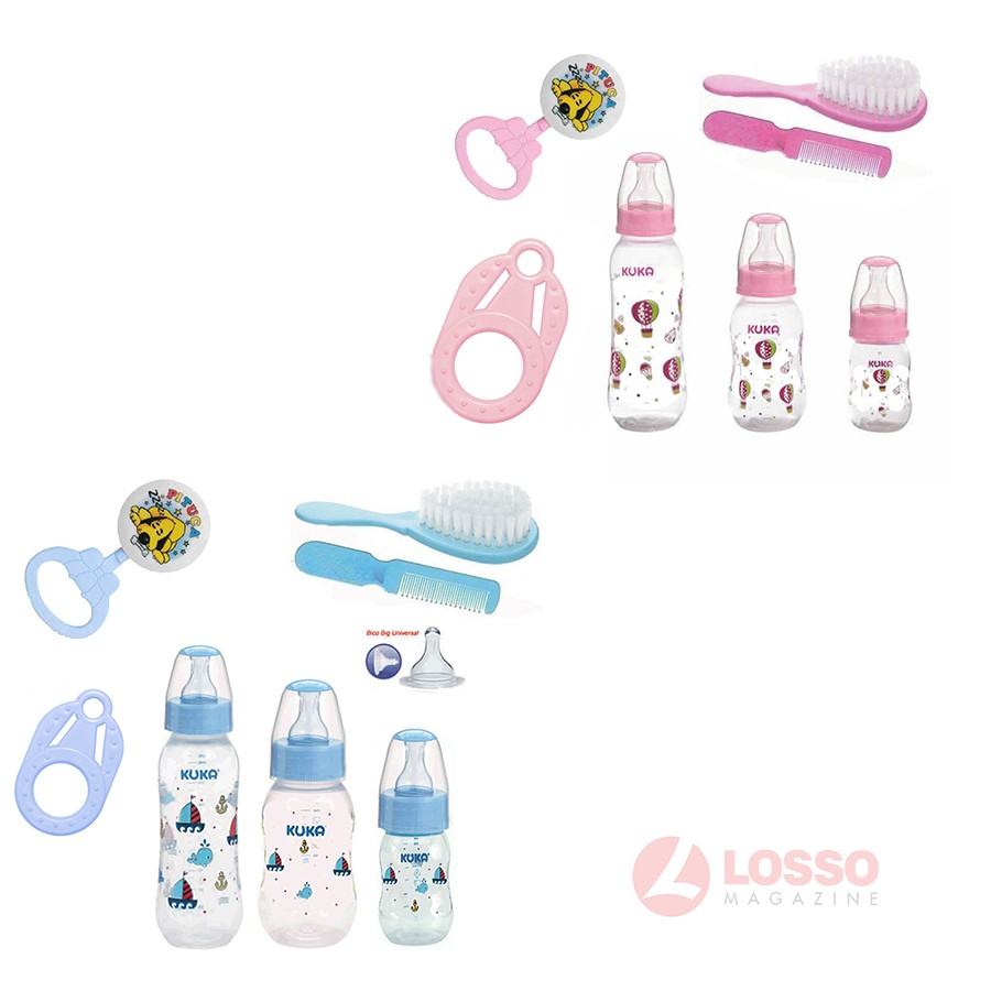 Kit Mamadeira Mordedor Chocalho Kit Manicure para Bebê c/ 7 itens