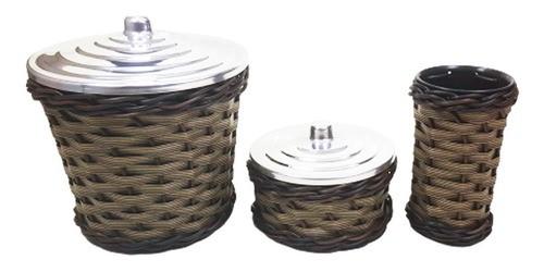 kit pia cozinha com Lixeira, Porta Detergente e Porta Sabão de junco