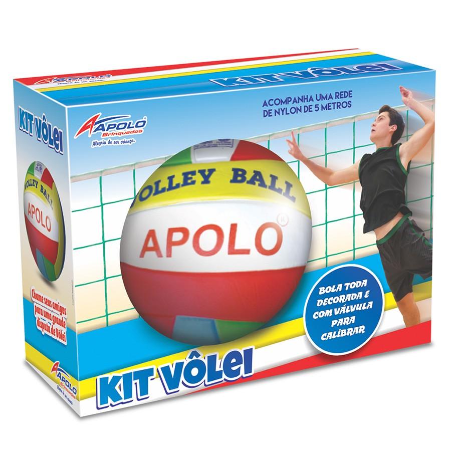 Kit Vôlei com Bola e Rede Apolo Brinquedos
