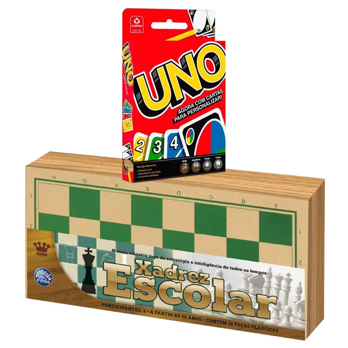 Kit Xadrez Escolar e Jogo Uno