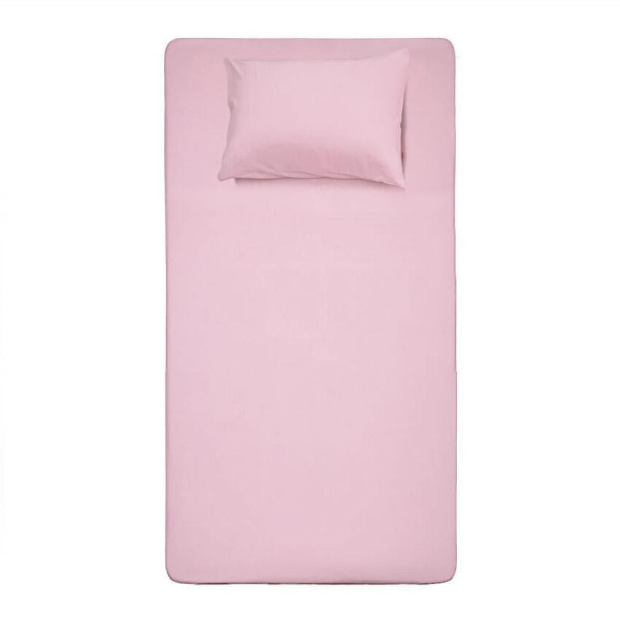 Lençol Rosa Solteiro com Elástico Camitalia Fio 30/1 88cm x 188cm x 30cm