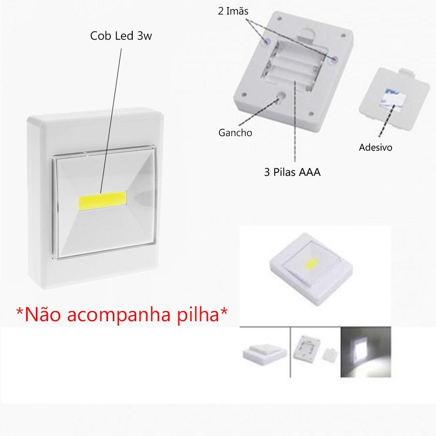 Luz Noturna Cob Light Switch 3w