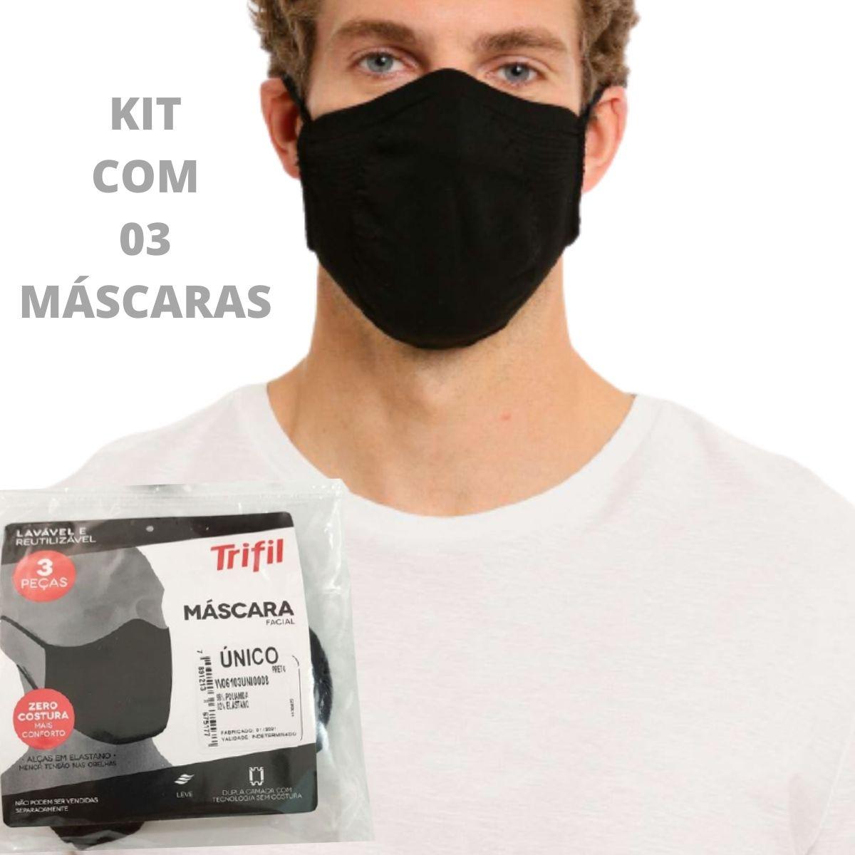 Máscara de Proteção Trifil Tecido Lavável e Reutilizável Kit com 3 unidades
